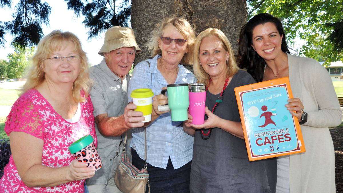 KEEP YOUR CUP: Hawkesbury Mayor Mary Lyons-Buckett meeting with HEN volunteers and cafe operators who have registered as Responsible Cafes. Picture: Supplied