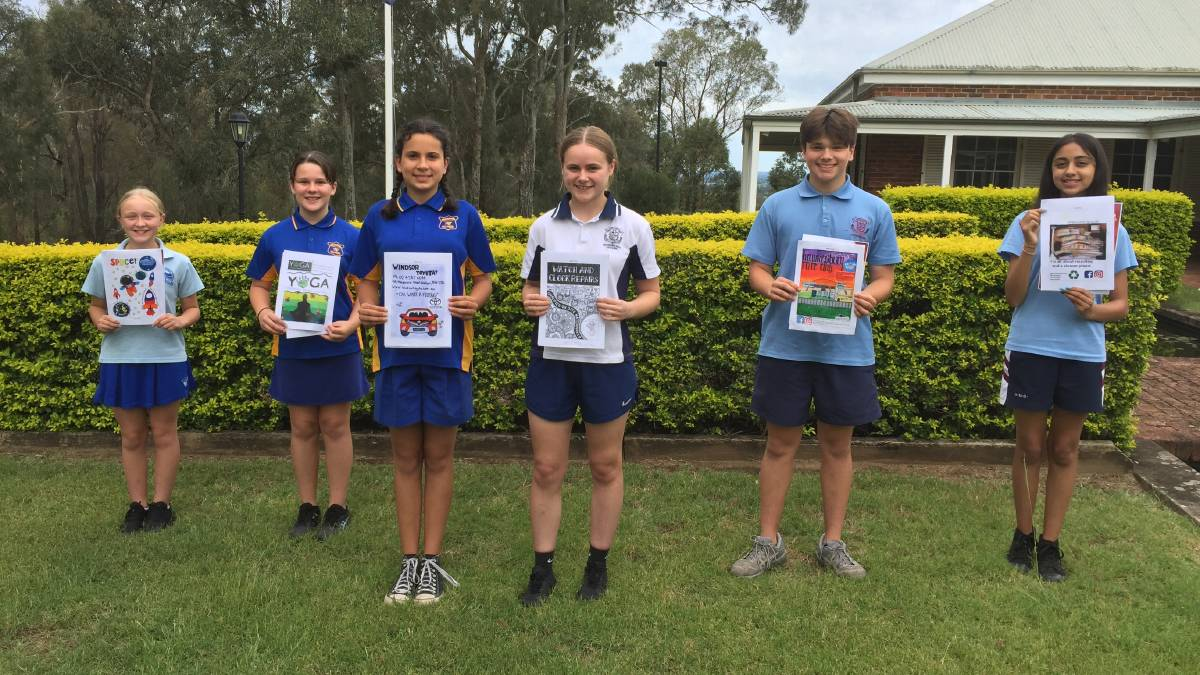 Design-An-Ad winners, from left, Matilda Hunt, Finley Adam, Evelyn Hupalo, Amelia Ashley, Jesse Brohier and Harini Pancholi. Picture: Sarah Falson