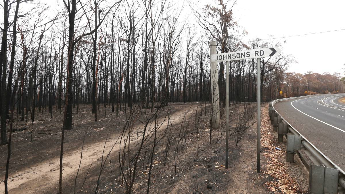An area on the corner of Johnsons and Bells Line of Roads, Bilpin, affected in the 2019-20 bushfires. Picture: Geoff Jones