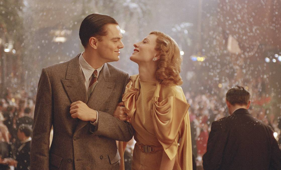 Leonardo DiCaprio (Howard Hughes), left and Cate Blanchett (Katharine Hepburn) in The Aviator. Picture: Supplied