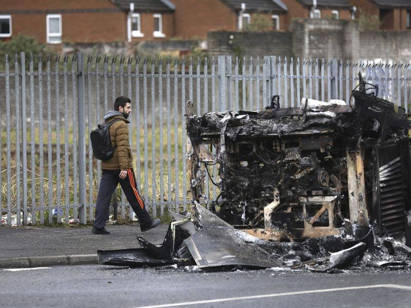 A Belfast city bus was hijacked and set on fire amid street clashes between Northern Ireland youths.