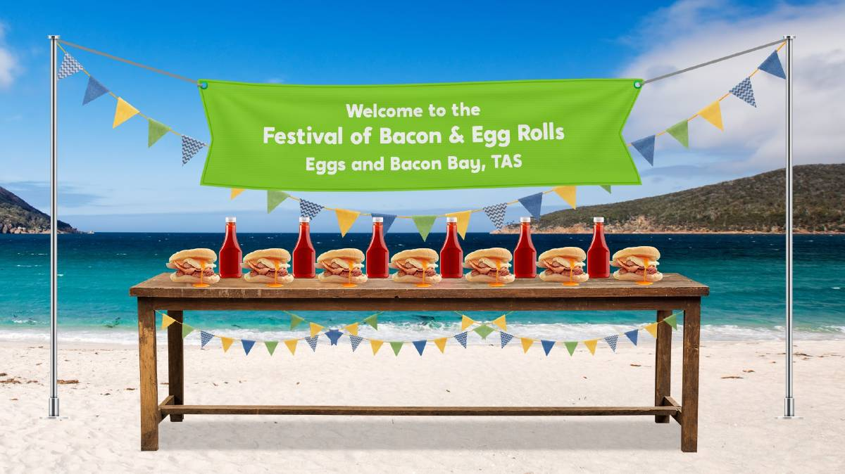 POSSIBILITY: Wotif will establish a festival celebrating something unique about a region, such as the bacon and egg rolls of Eggs and Bacon Bay. Picture: Supplied